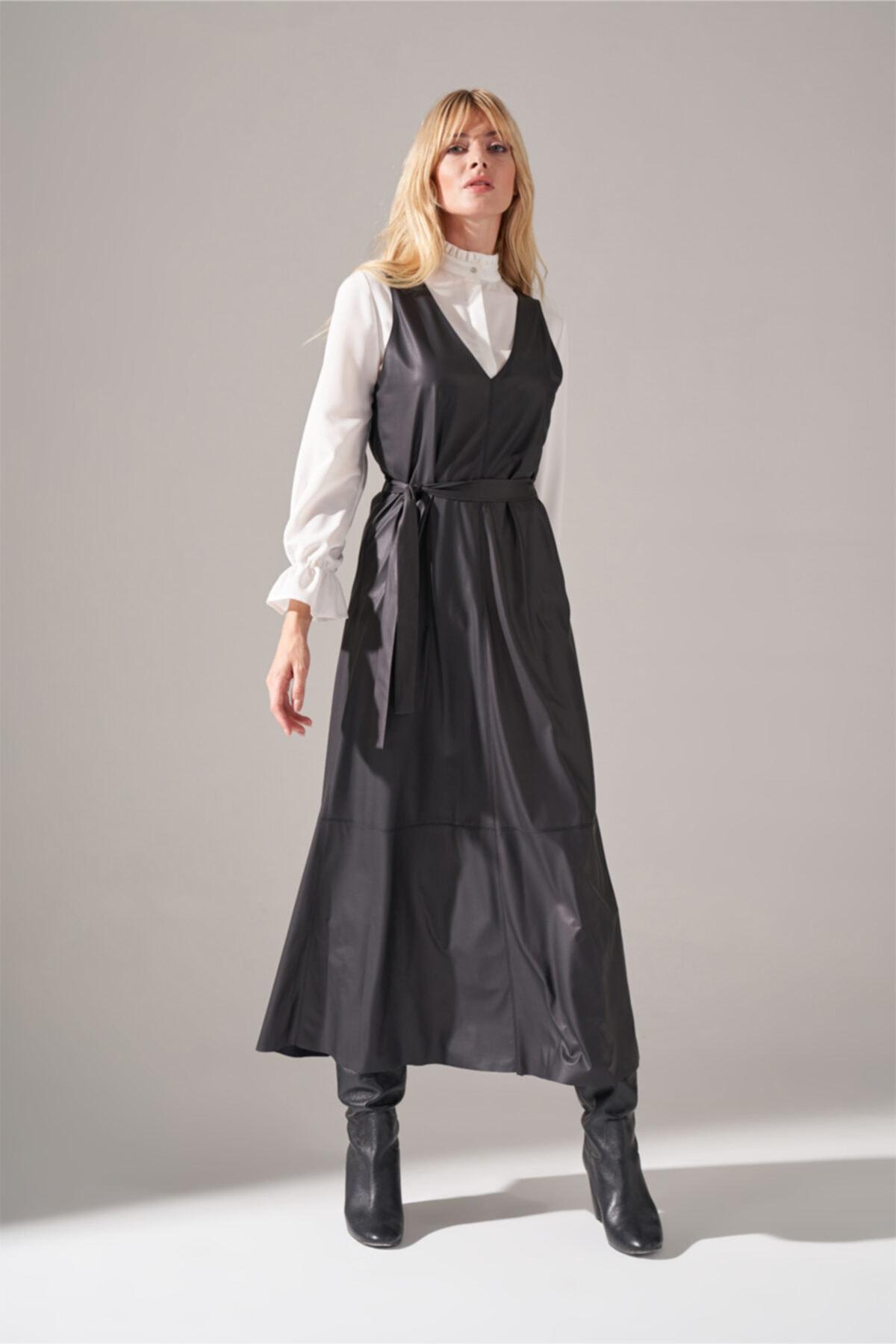 Mizalle Suni Deri Jile Elbise (Siyah) 1