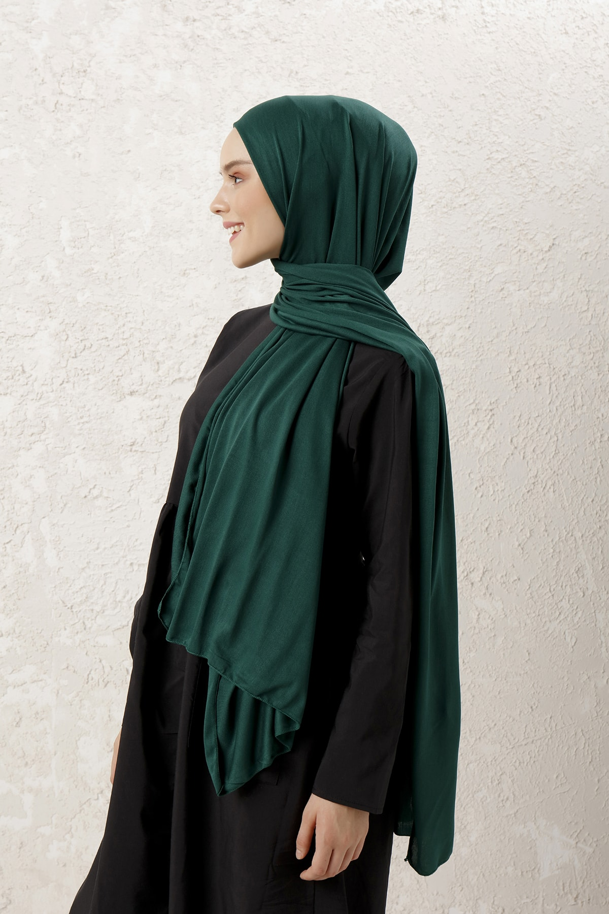 MUJERSCARFS Kadın Zümrüt Yeşili Penye Şal 2