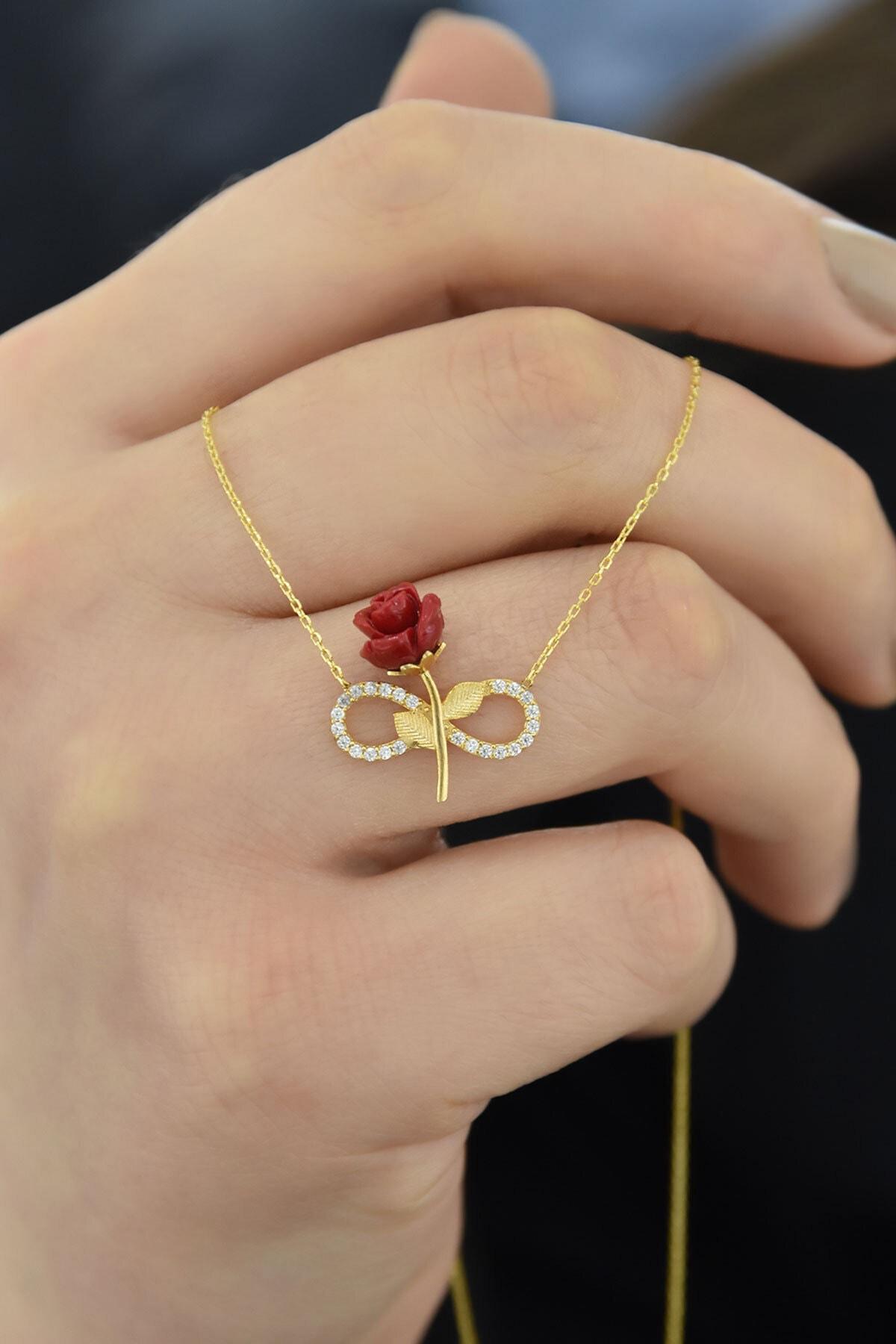 Papatya Silver Kadın Kırmızı Gül Gold Kaplama Sonsuzluk 925 Ayar Gümüş Kolye 1