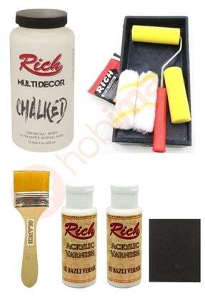 Rich Glance Dolap Boyama Beyaz Tavalı Karma Rulo Set