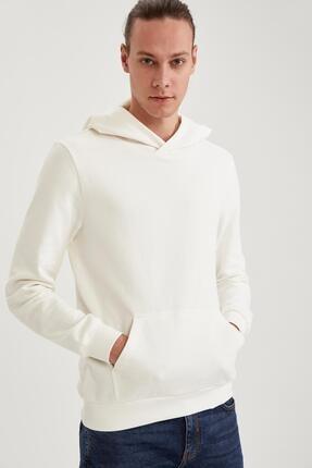 DeFacto Erkek Ekru Kapüşonlu Slim Fit Basic Sweatshirt