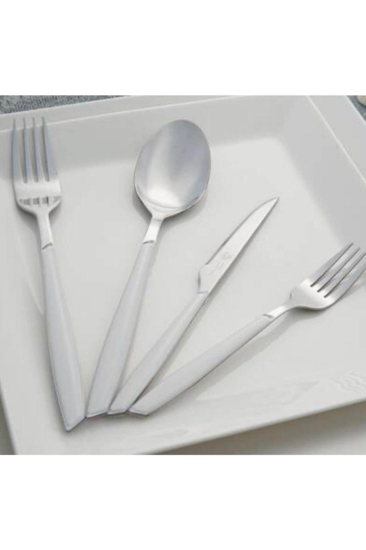 ACAR 24 Parça Akrilik Saplı Çatal Kaşık Bıçak Seti Beyaz Beyaz 1