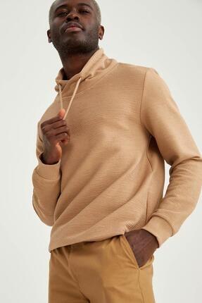 DeFacto Erkek Bej Şal Yaka Slim Fit Basic Sweatshirt