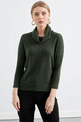 Journey Kadın Yeşil Degaje Yaka Uzun Kol Bluz