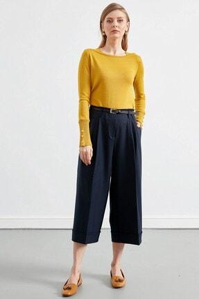 Journey Kadın Lacivert Bel Kemer Detaylı Pileli Duble Bol Paça Pantolon