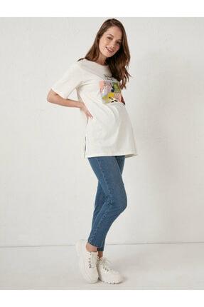 LC Waikiki Looney Tunes Kadın Ekru Fdh Hamile T-Shirt