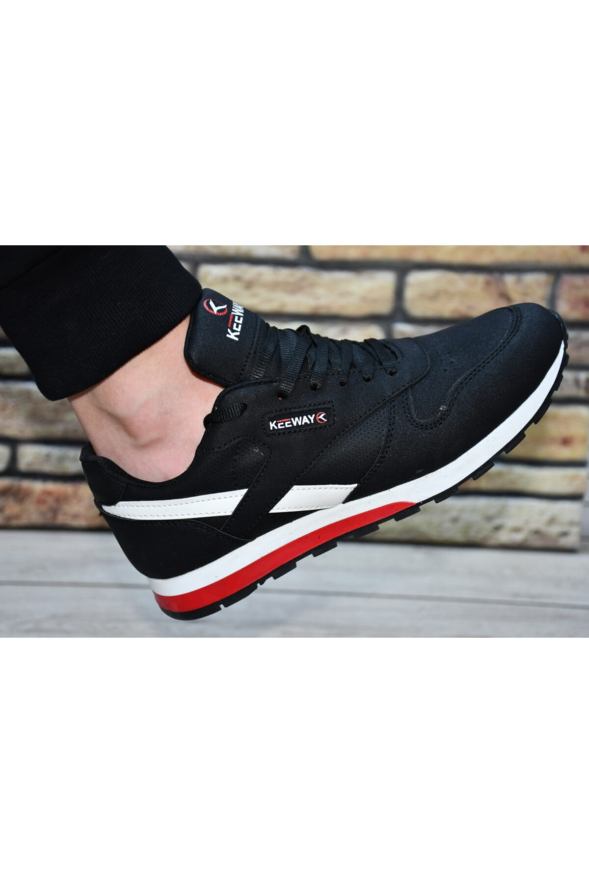 Keeway Erkek Siyah Beyaz Spor Ayakkabı 1