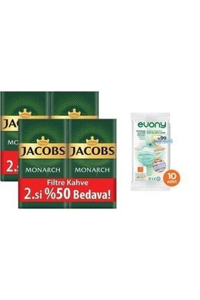 Jacobs Monarch Filtre Kahve 2 X 500 Gr (2'li Set) 2 Kg + 10 Adet Evony Maske