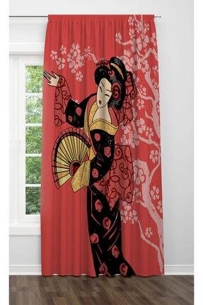 ALBANHOME Kırmızı Japon Kadın Motifli Tek Kanat Fon Perde