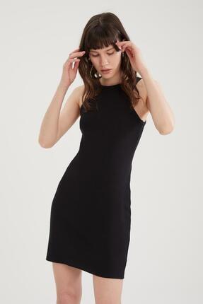 DeFacto Kadın Siyah Halter Yaka Slim Fit Pamuklu Elbise