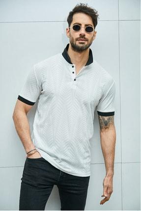 Sateen Men Erkek Beyaz Jakarlı Polo Yaka T-Shirt