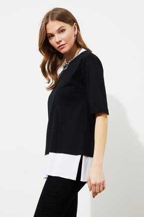 TRENDYOLMİLLA Siyah Parça Detaylı Boyfriend Örme T-Shirt TWOSS20TS0858