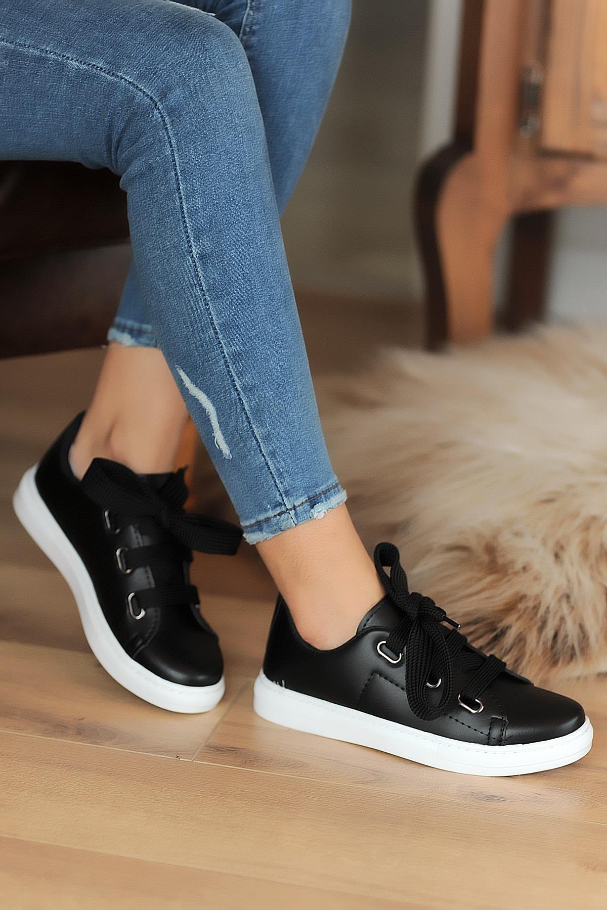 Hediyem Sende Kadın Siyah Kalın Bağcıklı Günlük Casual Ayakkabı 2