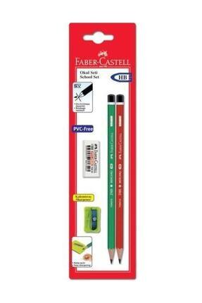Faber Castell Okul Seti 4'lü Blister (2 Adet Kurşun Kalem+Silgi+Kalemtıraş)