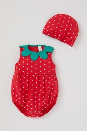 DeFacto Kız Bebek Kırmızı Çilek Tasarımlı Tulum Takımı