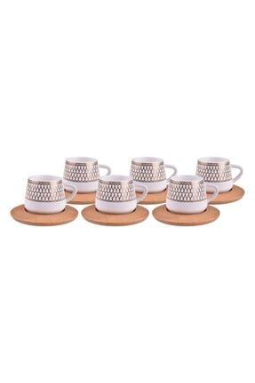Bambum Hattat 6 Kişilik Porselen Kahve Fincan Takımı Altın B0931