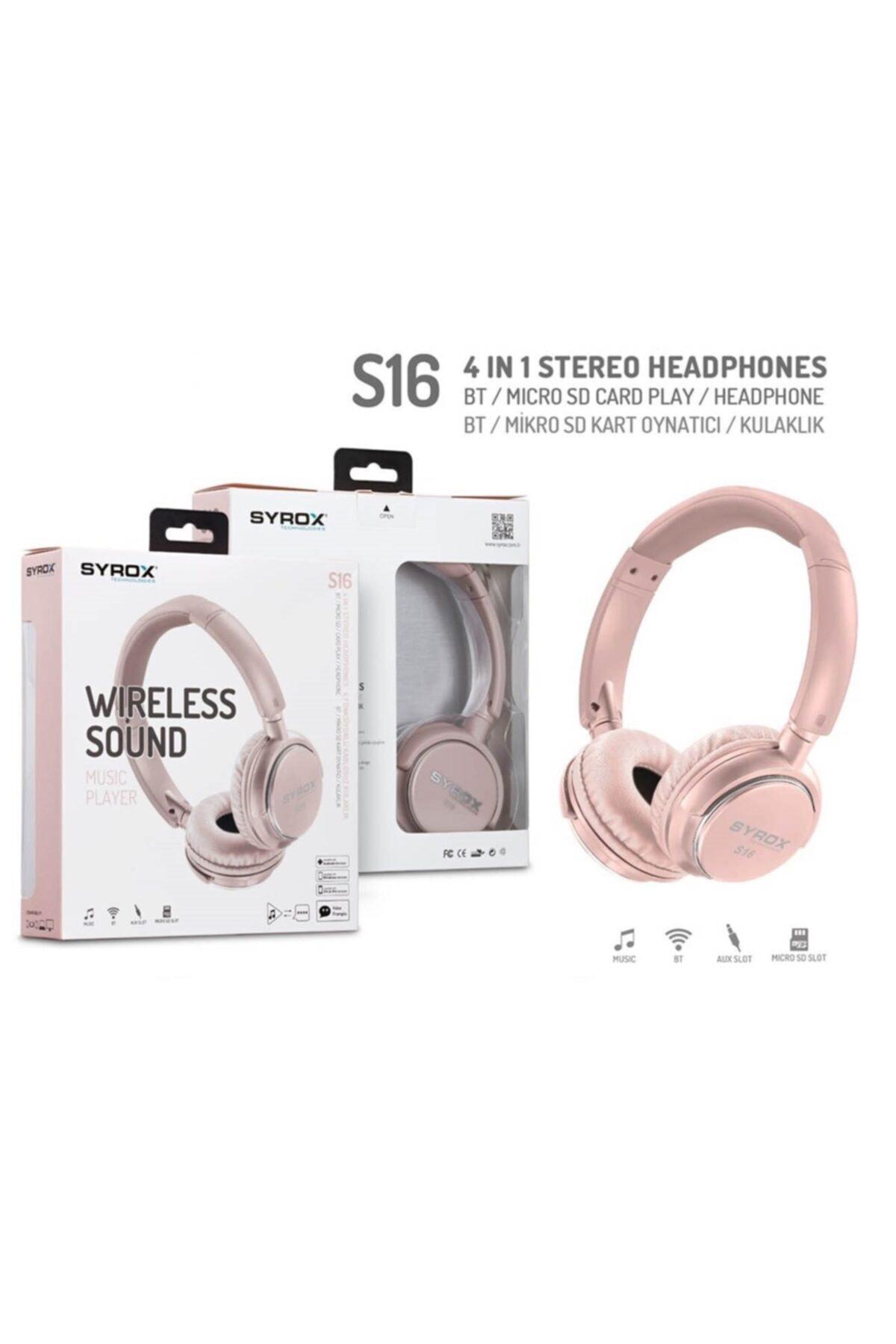 Syrox Kulaküstü Kablosuz Bluetooth Kulaklık Hafıza Kartı Girişli S16 Pembe 2