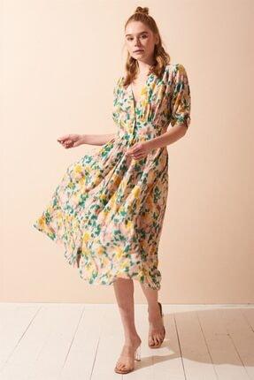 Never more Kadın Çiçek Desenli Düğmeli Elbise