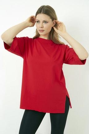Vis a Vis Kadın Kırmızı Bisiklet Yaka Katlı Yarım Kol Oversize  T-Shirt STN878KTS121