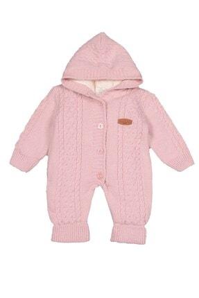 Pierre Cardin Baby Pierre Cardin Saç Örgülü Triko Kız Bebek Tulumu Pembe