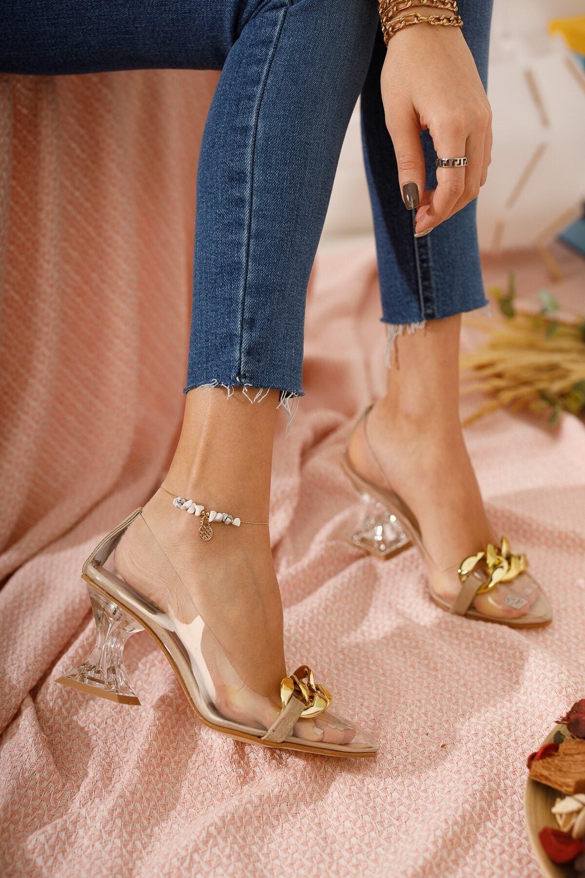 FORS SHOES Kadın Ayakkabı Ten Süet Tokalı Şeffaf Topuklu Ayakkabı 2