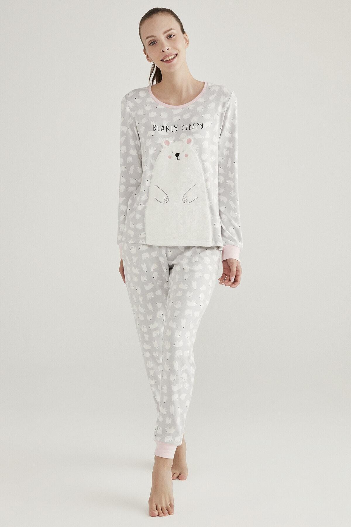 Penti Gri Polar Bear Termal Pijama Takımı 1