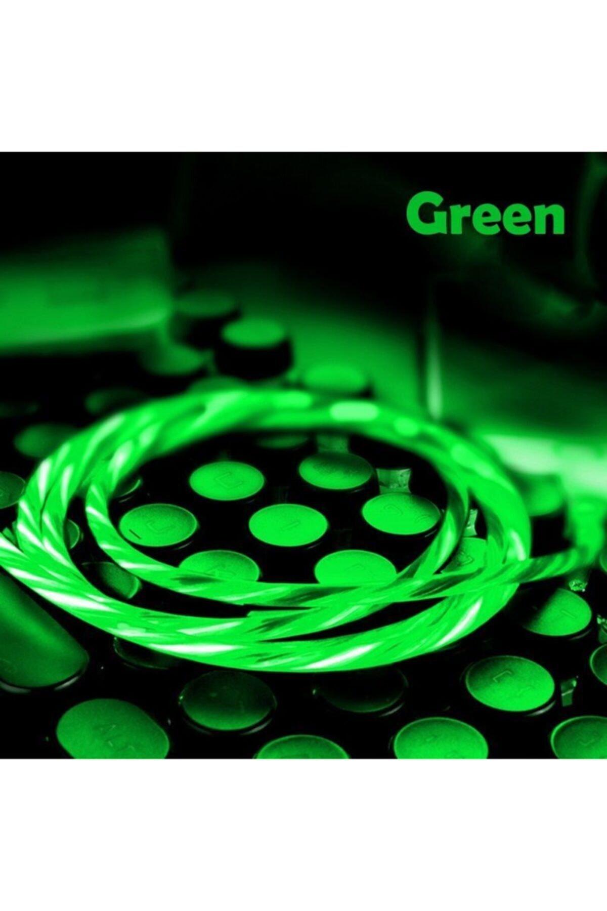 Elmas Type C Full Işıklı Hareketli Manyetik Mıknatıslı Şarj Aleti Sarj Kablosu Yeşil Işıklı 1