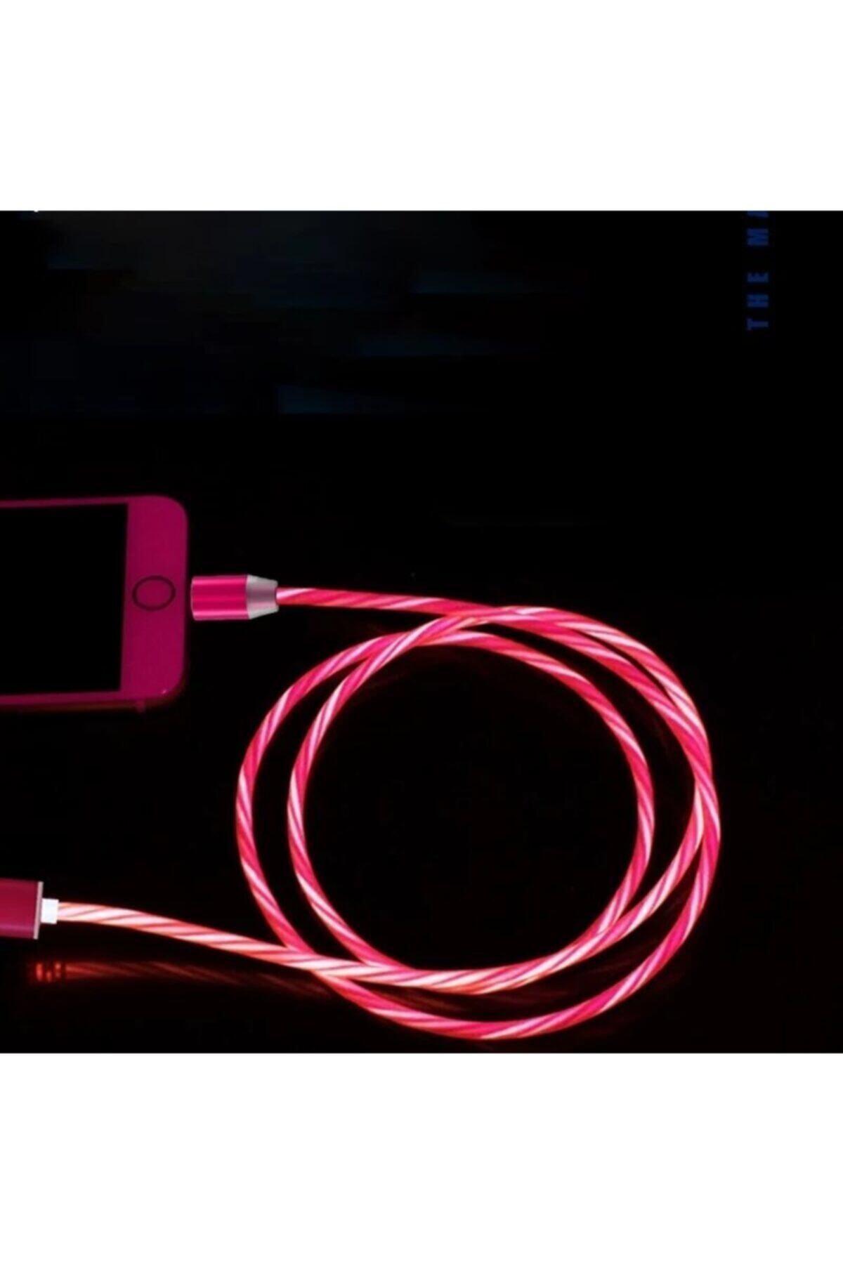 Elmas Type C Full Işıklı Hareketli Manyetik Mıknatıslı Şarj Aleti Sarj Kablosu Kırmızı Işıklı 1