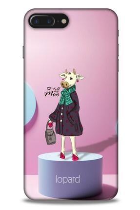 Lopard Apple Iphone 8 Plus Kılıf Funnymax (8) Baskılı Kılıf Pembe Mavi