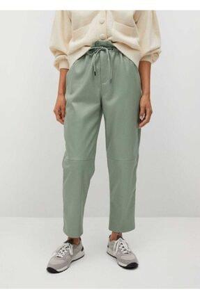 MANGO Woman Deri Görünümlü Beli Elastik Pantolon