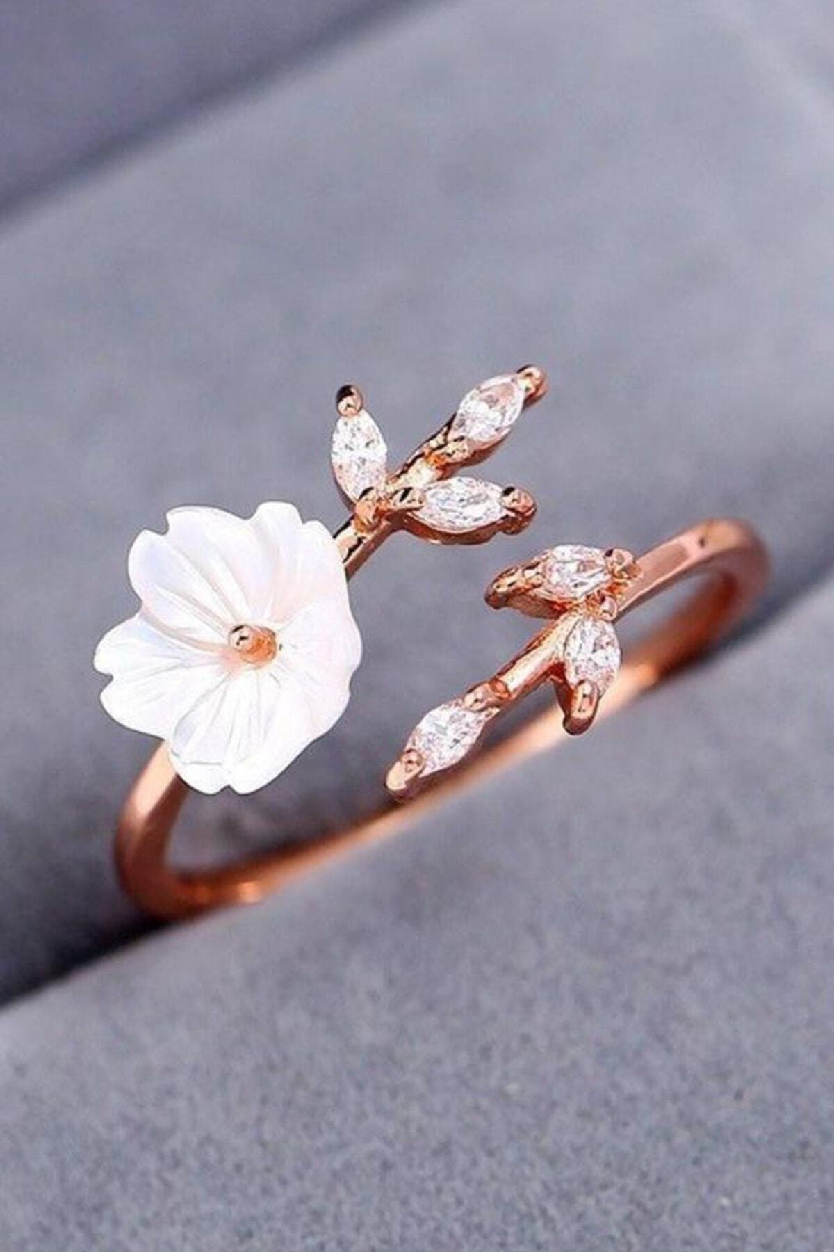 LOTUS GÜMÜŞ Kadın Beyaz Manolya Çiçeği 14k Rose Altın Kaplama Yüzük 1