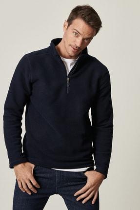 AC&Co / Altınyıldız Classics Erkek Lacivert Standart Fit Günlük Rahat Fermuarlı Bato Yaka Spor Polar Sweatshirt