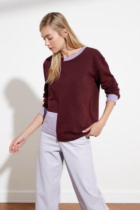 TRENDYOLMİLLA Mürdüm Renk Bloklu Örme Sweatshirt TWOSS21SW0075