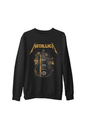 Lord T-Shirt Erkek Siyah Metallica Guitar In Sand  Kalın Sweatshirt