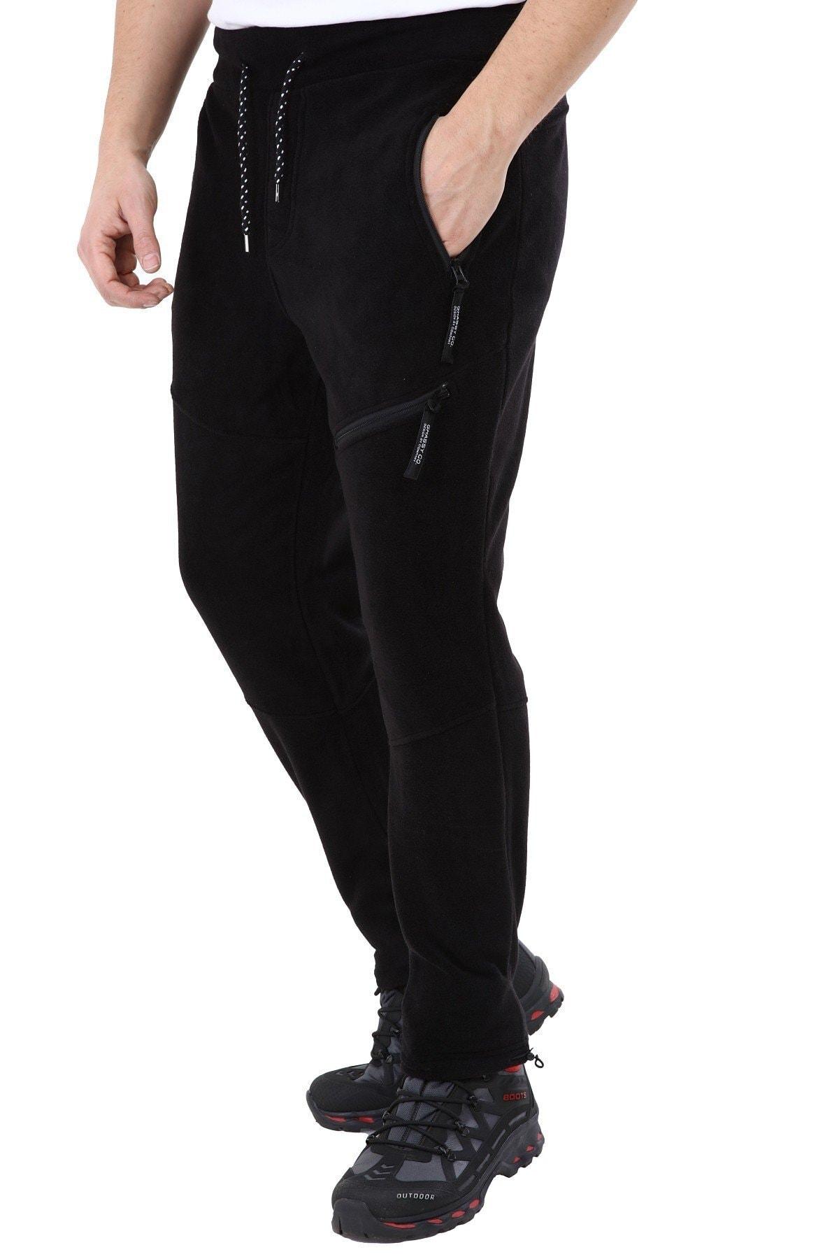 GHASSY CO. Erkek Siyah Taktik Cepli Outdoor Polar Pantolon 2