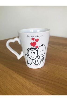 Keramika 9 Cm Kalp Kulplu Aşk Kupası Evlilik