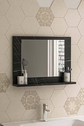 bluecape Siyah Mermer 60x45 Raflı Banyo Dolabı Wc Ofis Çocuk Yatak Odası Bahçe Lavabo Aynası