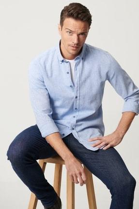 ALTINYILDIZ CLASSICS Erkek Mavi Tailored Slim Fit Keten Gömlek