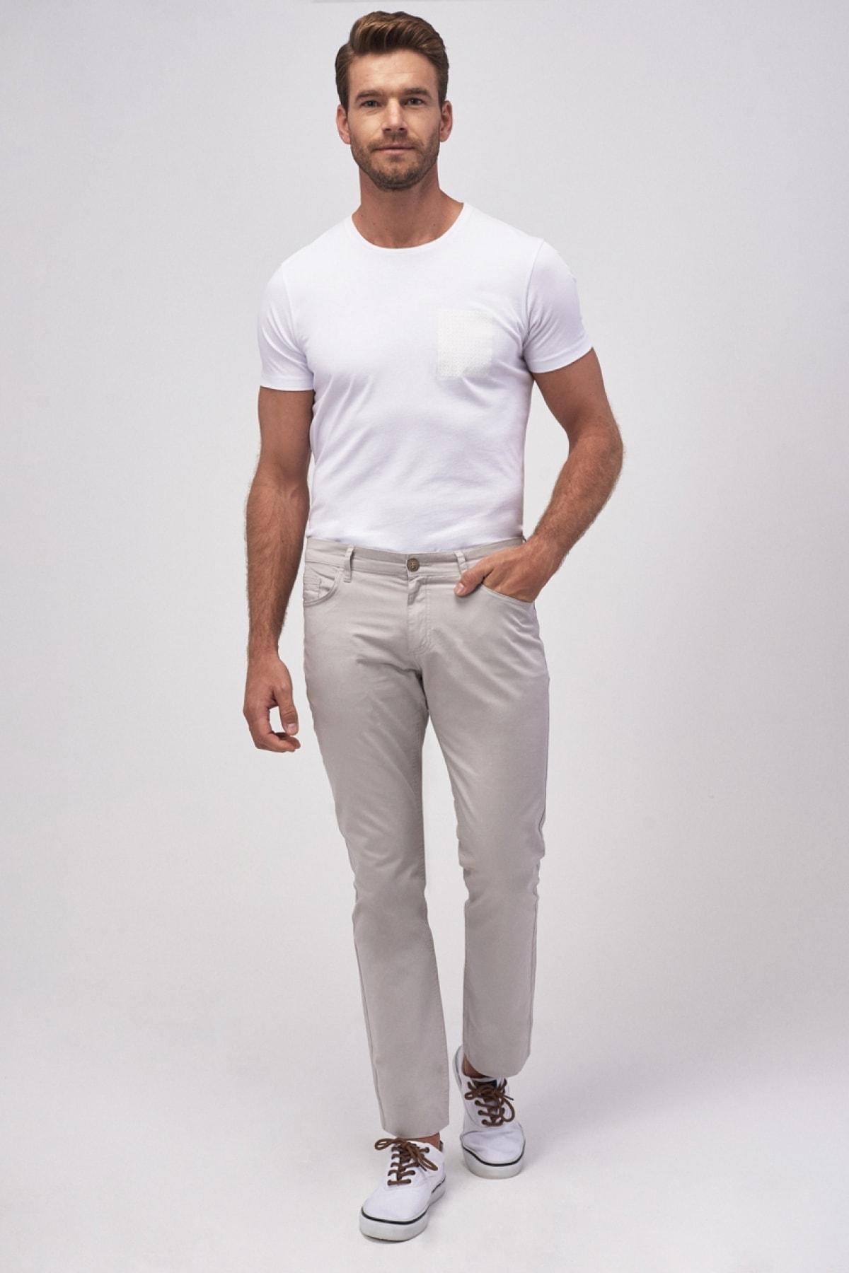 ALTINYILDIZ CLASSICS Erkek Taş Kanvas Slim Fit Dar Kesim 5 Cep Pantolon 1