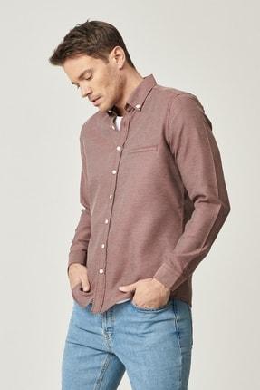 AC&Co / Altınyıldız Classics Erkek Bordo Tailored Slim Fit Dar Kesim Düğmeli Yaka Kışlık Gömlek