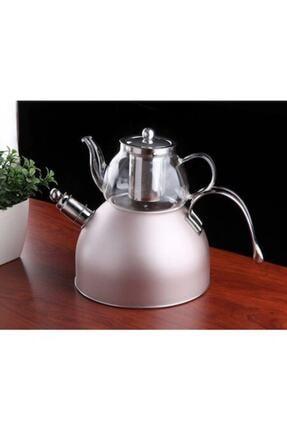 GÖNÜL Cam Demlikli Düdüklü Çaydanlık Takımı - Rosagold