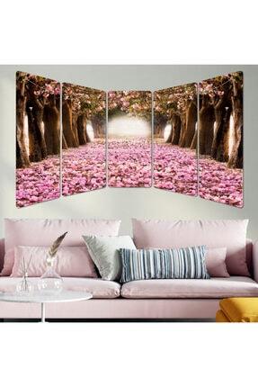 hanhomeart Çiçekli Yol Panoramik Parçalı Ahşap Tablo Seti