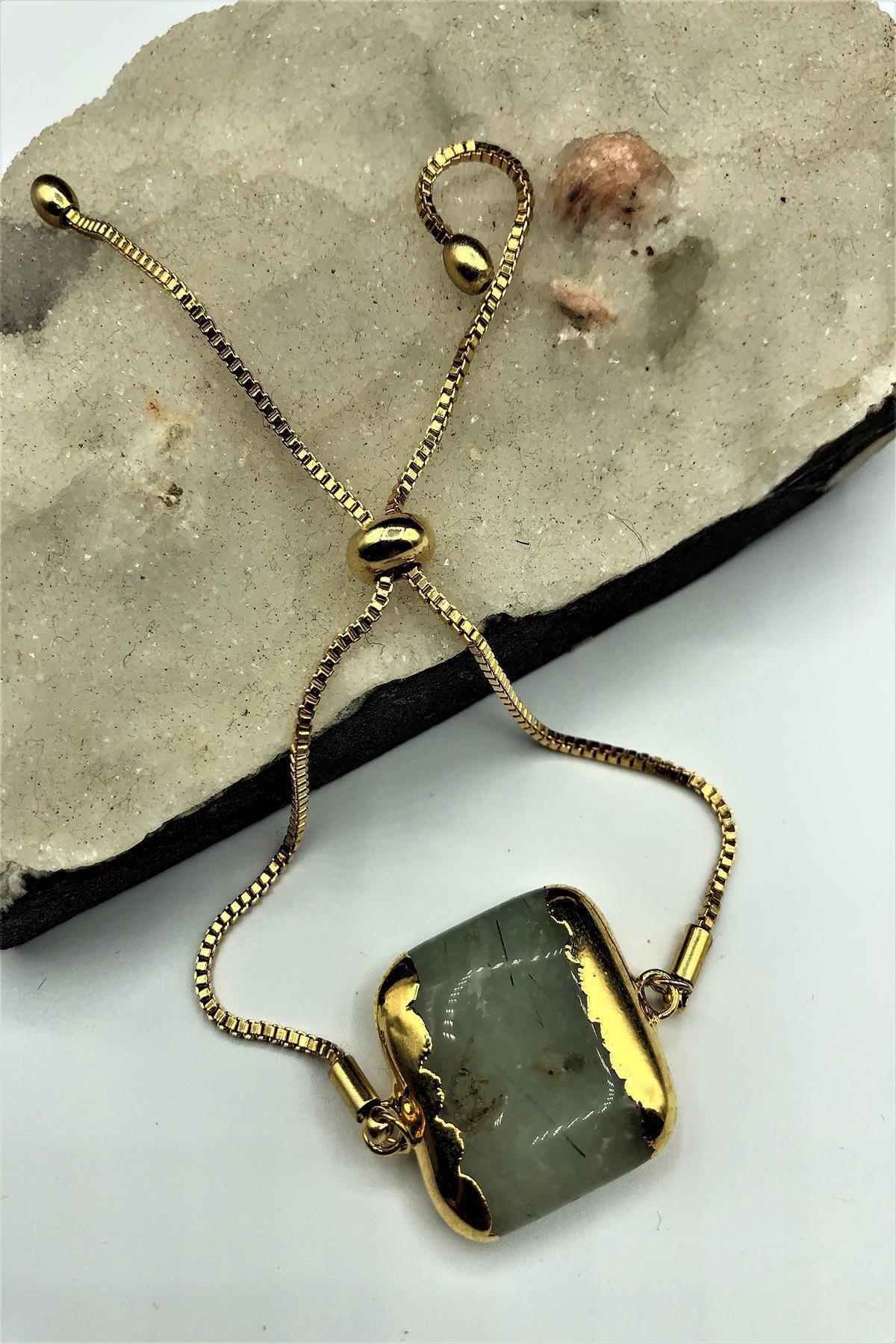 Dr. Stone Dr Stone Golden Zebercet Taşı 22k Altın Kaplama El Yapımı Kadın Bileklik Tkrb2 1