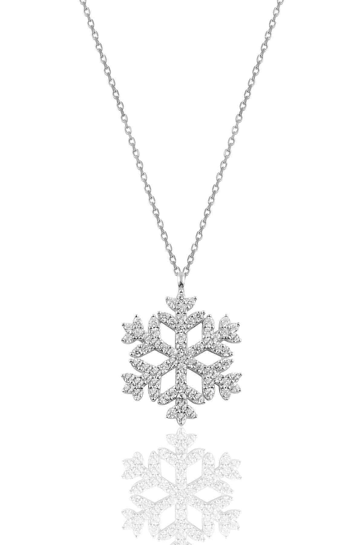 Söğütlü Silver Gümüş Rodyumlu Gümüş Kar Tanesi Kolye 1