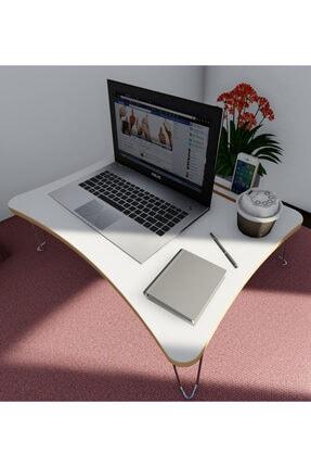 baksan Katlanır Laptop Sehpa Çalışma Kahvaltı Masası Beyaz Ahşap Mdf