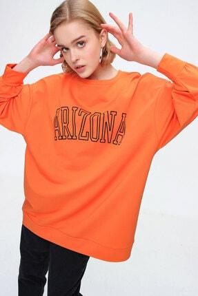 Bigdart Kadın Oranje Oversize Baskılı Sweat Tunik 4263