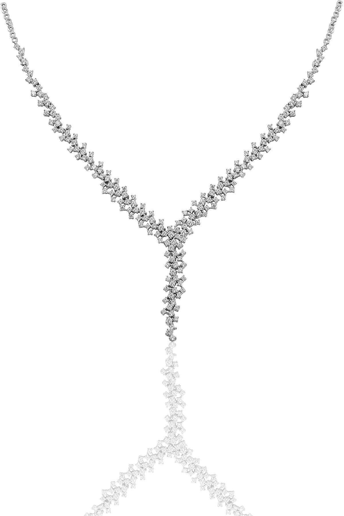 Söğütlü Silver Gümüş Rodyumlu Pırlanta Modeli Su Yolu Gümüş Takım. 2