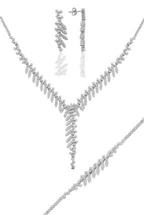 Söğütlü Silver Gümüş Rodyumlu Pırlanta Modeli Sultan Gümüş Takım.