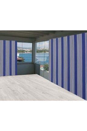 Evim Ceylan Home Balkon Branda Perdesi 625x250 Mavi Beyaz Çizgili