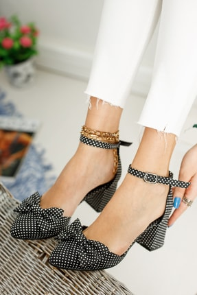 MODAADAM Kadın Polder Puantiye Hafif Topuklu Siyah Ayakkabı